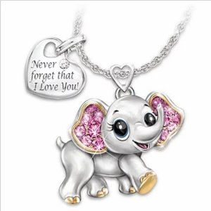 """""""Never forget that I love you"""" Elephant Necklace"""